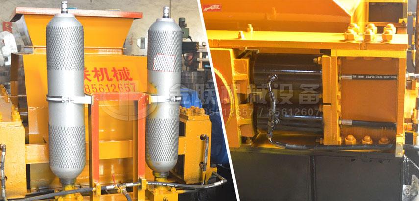 液压对辊破碎机蓄能氮气罐和液压缸图片